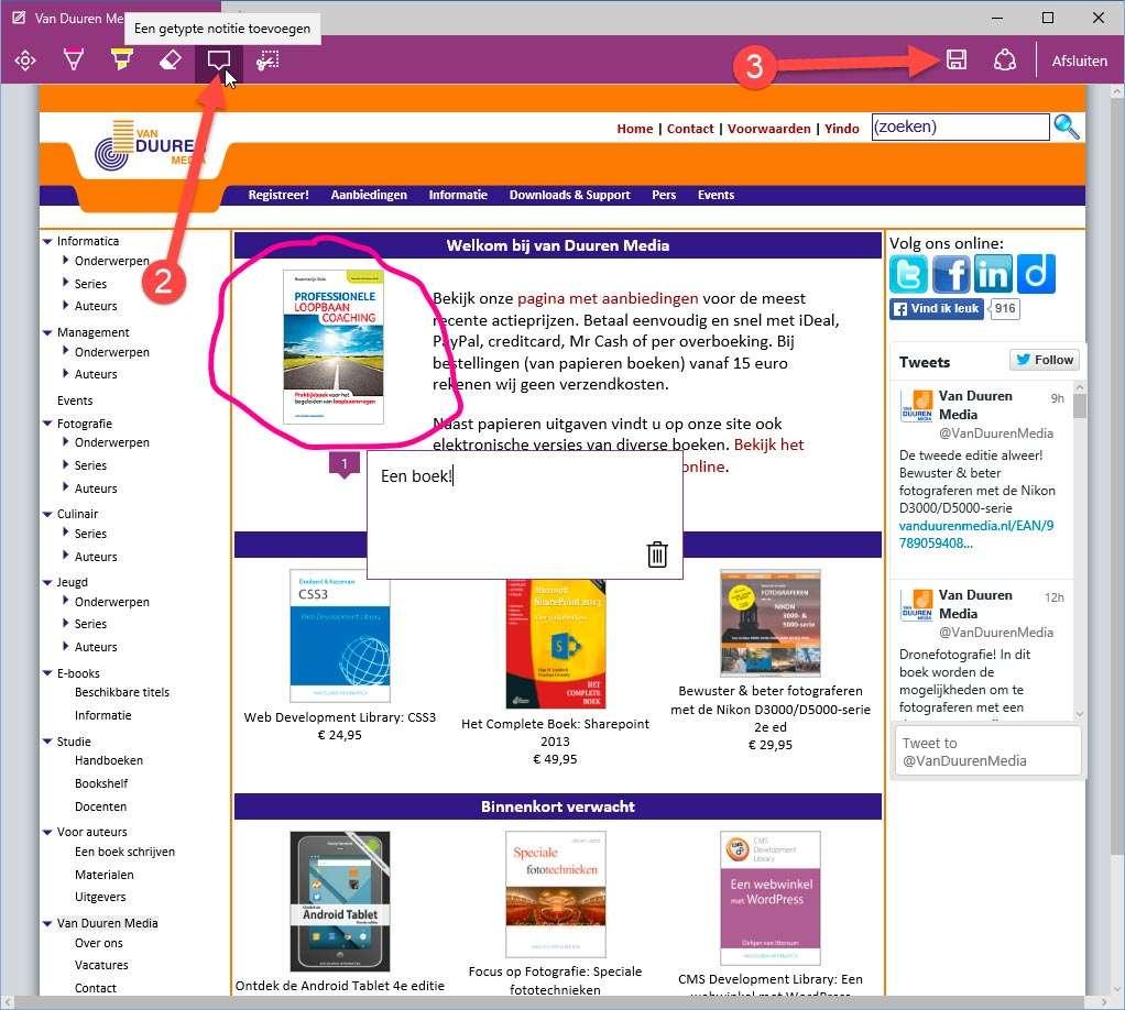 'Opslaan' van de bekrabbelde pagina werkt dan weer wat minder logisch, een exportoptie naar PDF zou best handig zijn!