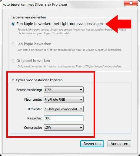 Het dialoogvenster exporteren naar Silver Efex Pro in Lightroom: een Tiff met alle informatie van een RAW.