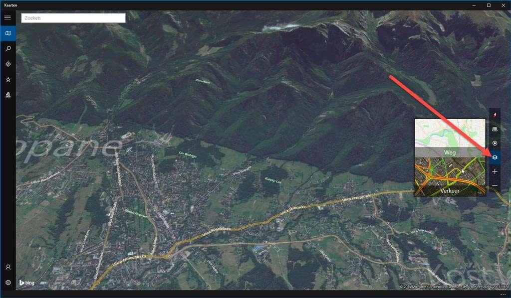 Bergen in 3D: ook leuk. We hadden dan wel liefst gezien dat de weergave nog wat verder te kantelen was, maar in tegenstelling tot bijvoorbeeld Google Maps kent de Microsoft kaarten-app een maximale (of minimale, zo je wilt) kijkhoek.