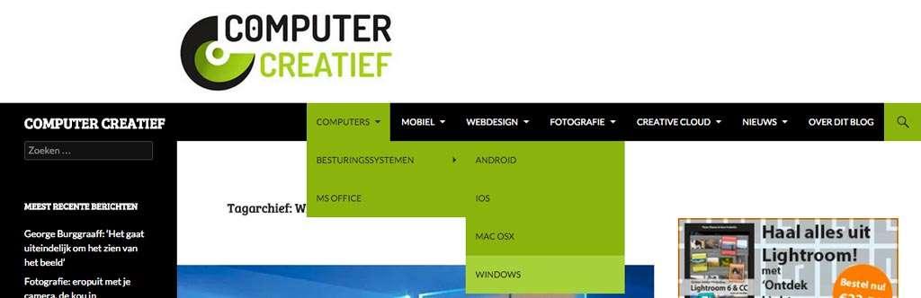 Het gebruiken van de menu's: vanuit Computers naar het onderdeel Windows.