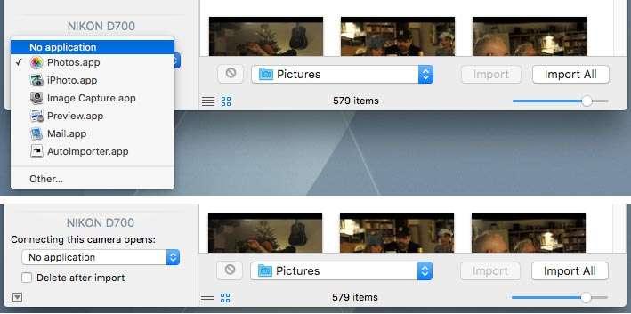 Wat wil je Mac doen als die deze camera of dit kaartje tegenkomt? In het pop-up-menu bij 'Connecting this camera opens:' kies je voor 'No Application'.