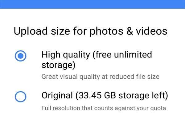 Je moet de keuze maken tussen High quality, waarbij de maximale grootte van je foto 16 megapixel is en waarbij je ongelimiteerde opslagruimte hebt, en Original, waarbij je de oorspronkelijke bestanden naar je Google Drive stuurt. Dit kost je natuurlijk opslagruimte in je Drive.