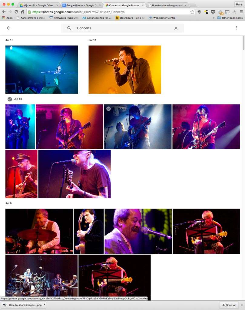 Eenmaal in Google Photos zijn je foto's heel makkelijk doorzoekbaar. Google zet foto's die eenzelfde onderwerp hebben bij elkaar, zoals hier 'concerts'.