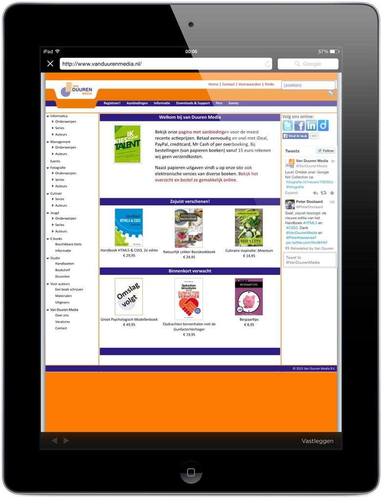 Ook van browserpagina's kan een screenshot gemaakt worden die je vervolgens kunt annoteren.