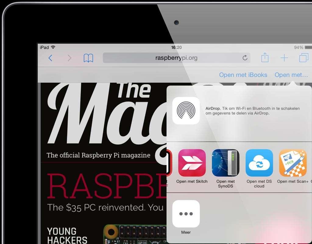 Vanuit vrijwel iedere pdf-capabele app is een geopend pdf-bestand via 'Open met' over te hevelen naar Skitch.