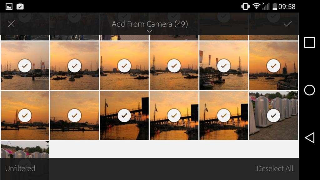 Alle foto's die door de camera zijn gemaakt, zijn geselecteerd en worden toegevoegd.