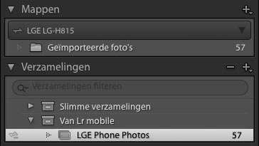 De Collection van Lightroom Mobile op de telefoon is gesynchroniseerd met Lightroom desktop. Let op de synchronisatie-tekentjes helemaal links voor LGE LG-H815 en LGE Phone Photos.