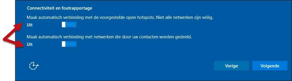 We bevelen aan om Windows niet automatisch verbinding te laten maken met open netwerken. Dit is veiliger.