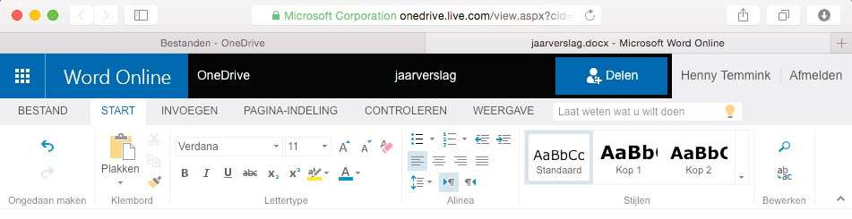 Een Worddocument bewerken in de browser.