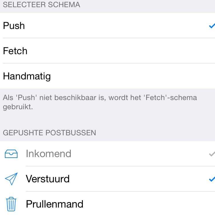 Bij een push-account kunt u ook fetch instellen en u kiest in de lijst welke postbussen worden gepusht.