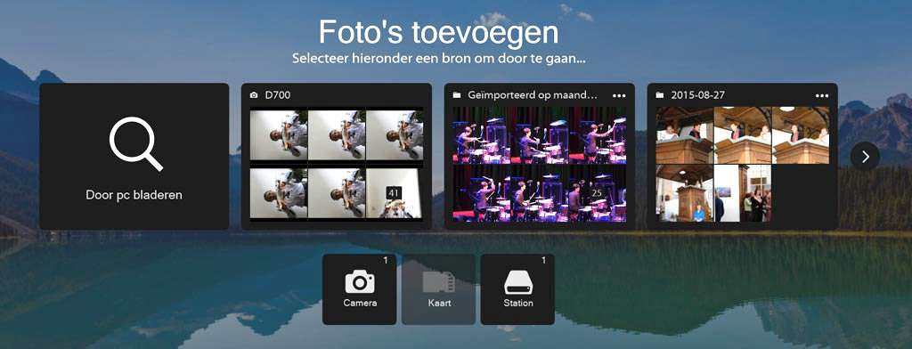 De eerste verandering die je ziet als je hebt gekozen voor het importeren van foto's in je Lightroom-catalogus (vanuit het menu Bestand kiezen voor Foto's en video's importeren) is een nieuwe scherm dat alles toont wat er aan bestanden op je pc zo een-twee-drie te vinden is. Je hebt Door pc bladeren, de foto's op je camera, een nog meer keuzemogelijkheden.