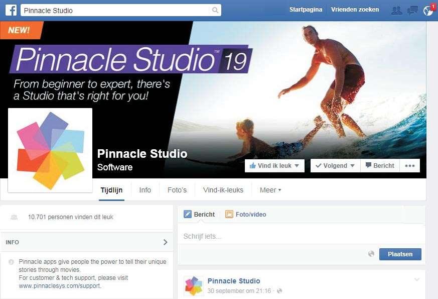 Pinnacle Studio op Facebook.