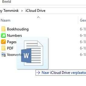 iCloud Drive op de computer. Sleep documenten gewoon op de gewenste map in iCloud Drive.