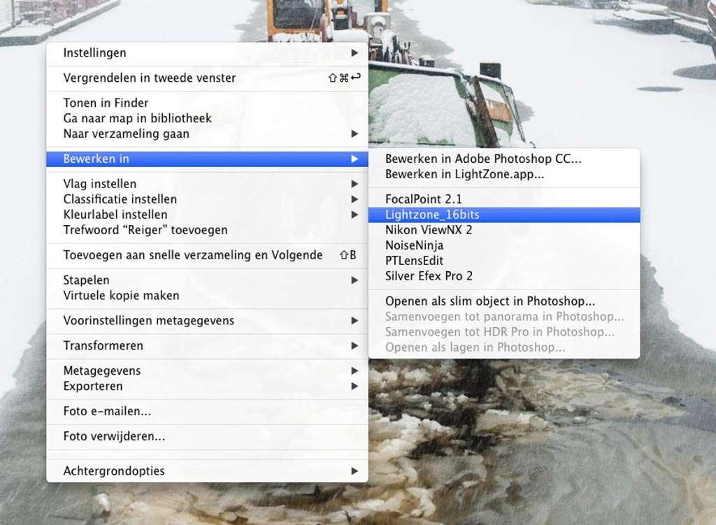 Door rechts te klikken op het bestand dat u wilt bewerken, verschijnt het menu waaruit u bij Bewerken in kunt kiezen in welke externe applicatie u de foto wilt bewerken, in dit geval is er gekozen voor Lightzone.