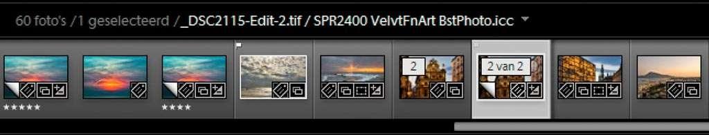 Lightroom maakt een virtuele kopie van de foto, en voegt aan de bestaande naam van de foto de naam van het gekozen printprofiel toe.