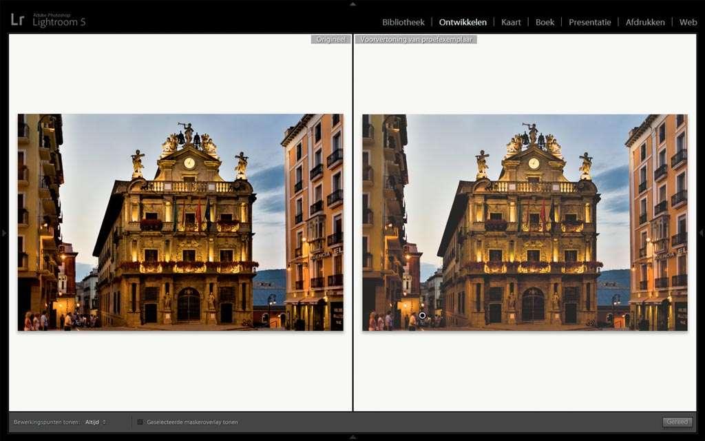 Links de oorspronkelijke foto, rechts de Elektronische proef zoals hij geprint gaat worden.
