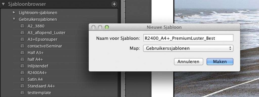 Alle printinstellingen vastleggen in een Lightroom-sjabloon.