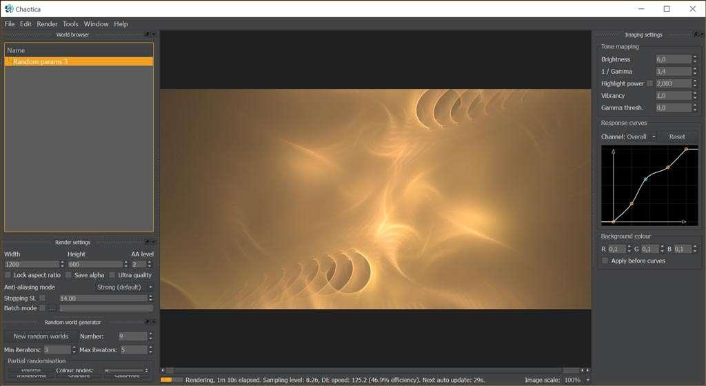Chaotica wordt bediend via paletten. De fractal zelf wordt realtime bijgewerkt.