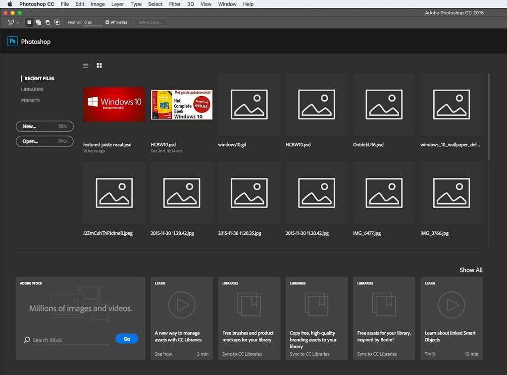 De Start Interface in Photoshop CC 2015.1.