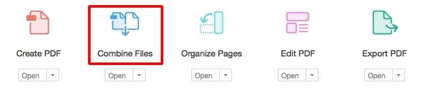 Voeg de PDF-bestanden samen met Combine files.