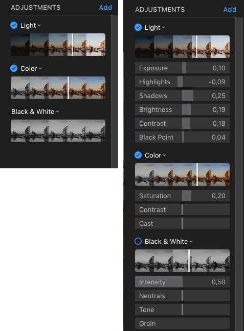 Bij het kiezen voor 'Adjust' heb je in eerste instantie beperkte mogelijkheden (links). Als je met de cursor bovenaan in een gereedschp beweegt, krijg je de mogelijkheid om het gereedschap open te klappen, waardoor er meer mogelijkheden verschijnen.