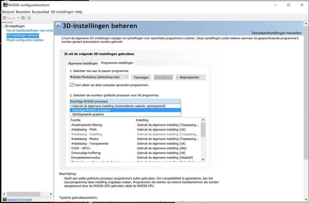 In het NVIDIA-configuratiescherm aangeven dat ik echt de GeForce-kaart wil gebruiken...