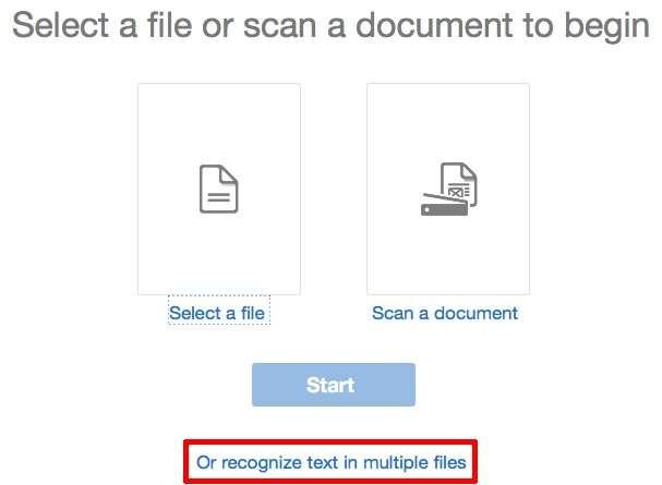 Kies voor Recognize text in multiple files.