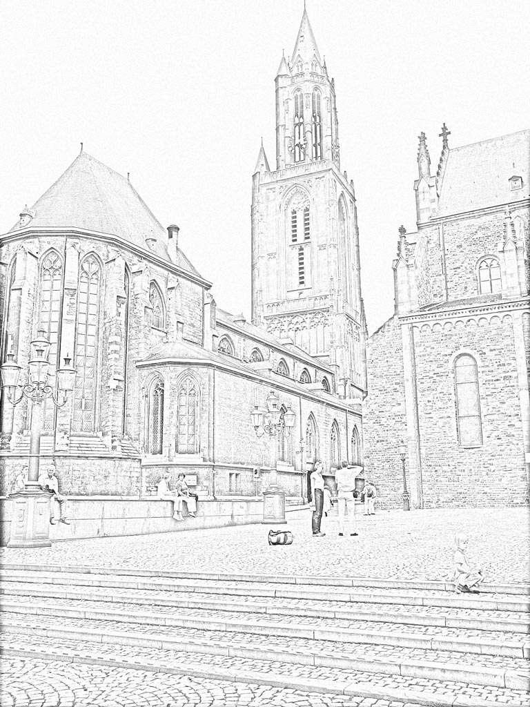 Het effect Lijntekening komt het best tot zijn recht bij foto's met contrastrijke rechte lijnen.