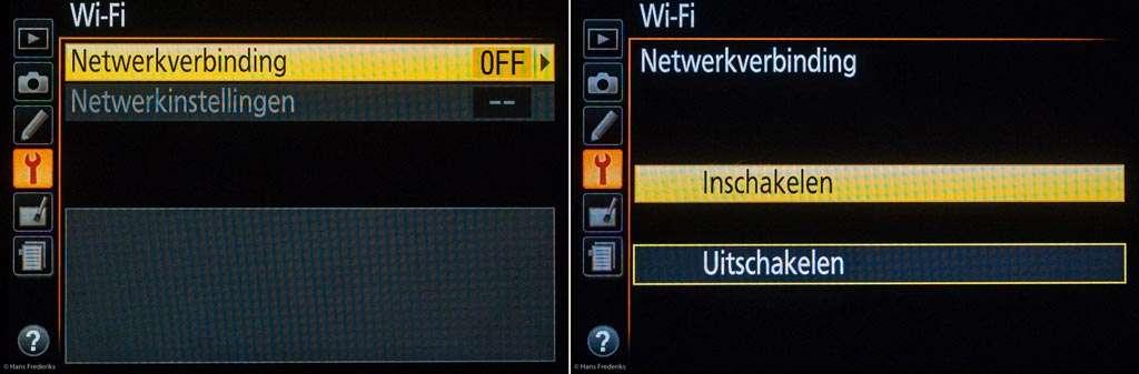 Vanuit het menu Setup kies je Wi-Fi, Netwerkverbinding inschakelen.