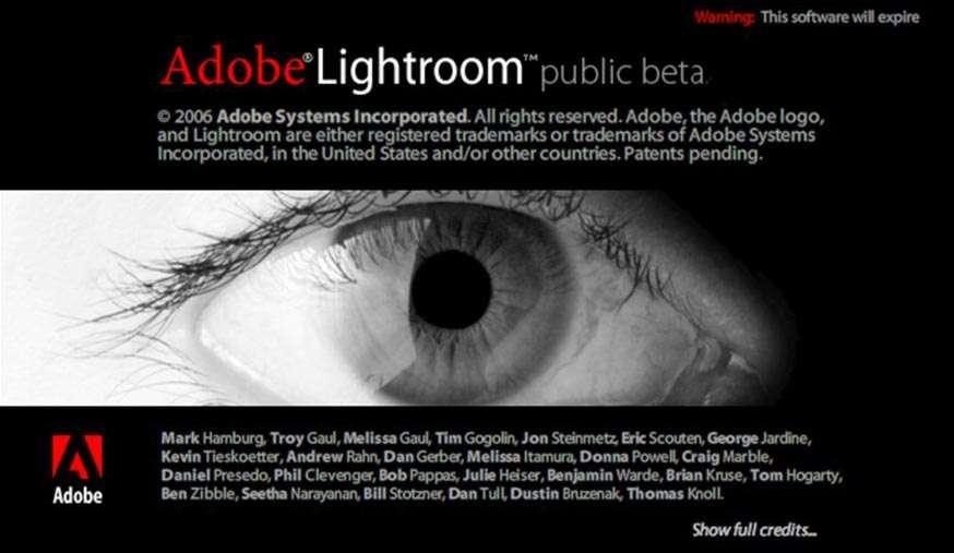 Splash screen van de eerste bèta-versie van Lightroom , januari 2006.