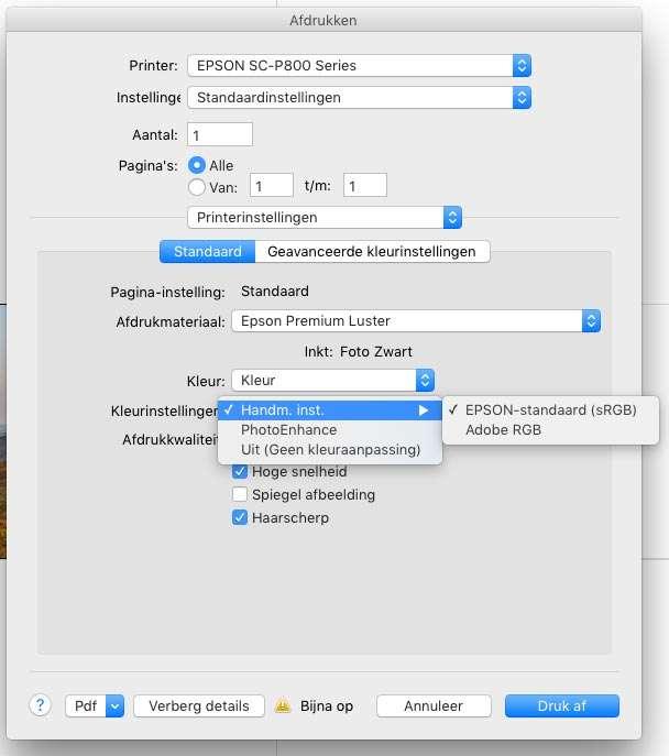 De printdialoog van de Epson SureColor P800, met de verschillende mogelijkheden bij Printerinstellingen. Hier is gekozen voor Epson-standaard (sRGB).
