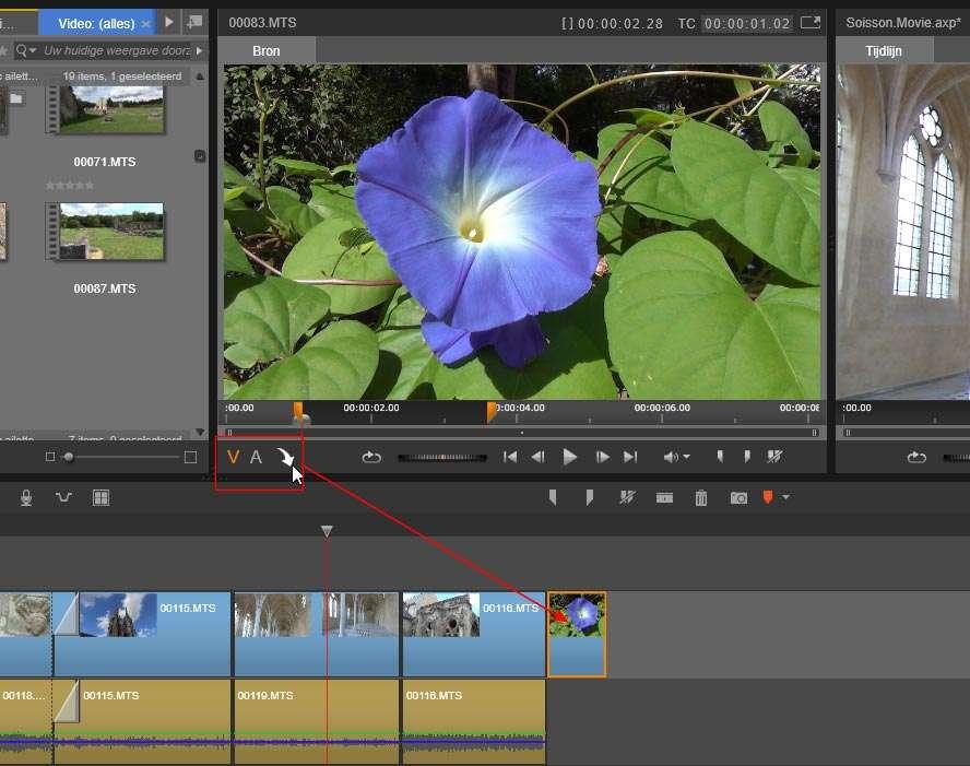 In dit voorbeeld is alleen een videostream geselecteerd en zal alleen de videostream worden toegevoegd.