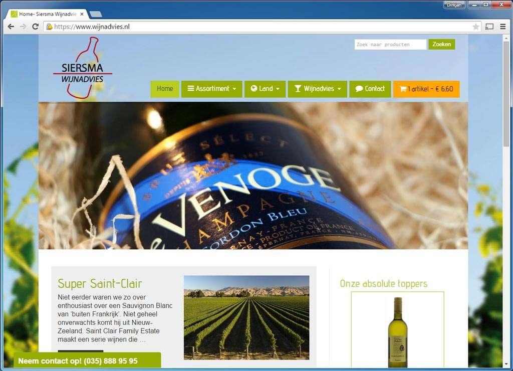 Siersma Wijnadvies (wijnadvies.nl). Een fraai uitgevoerde webwinkel met wijnen, wijnadvies, wijnproeverijen en meer. Gebruikt MailChimp voor het versturen van nieuwsbrieven.