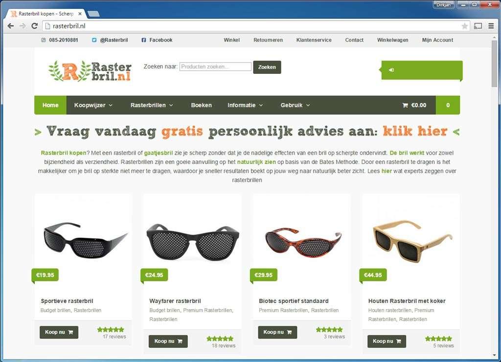 Rasterbril.nl. Een netjes uitgevoerde webshop waar de liefhebber een rasterbril kan kopen als alternatief voor een reguliere bril. Gebruikt voor zoekmachineoptimalisatie de oplossing van Yoast.