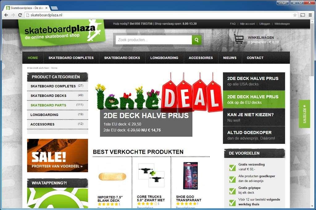 Skateboardplaza.nl. Liefhebbers van skateboarden kunnen dankzij deze WooCommerce-site hun hart ophalen. Gebruikt Sucuri Security om de site te beveiligen tegen hackers en malware.