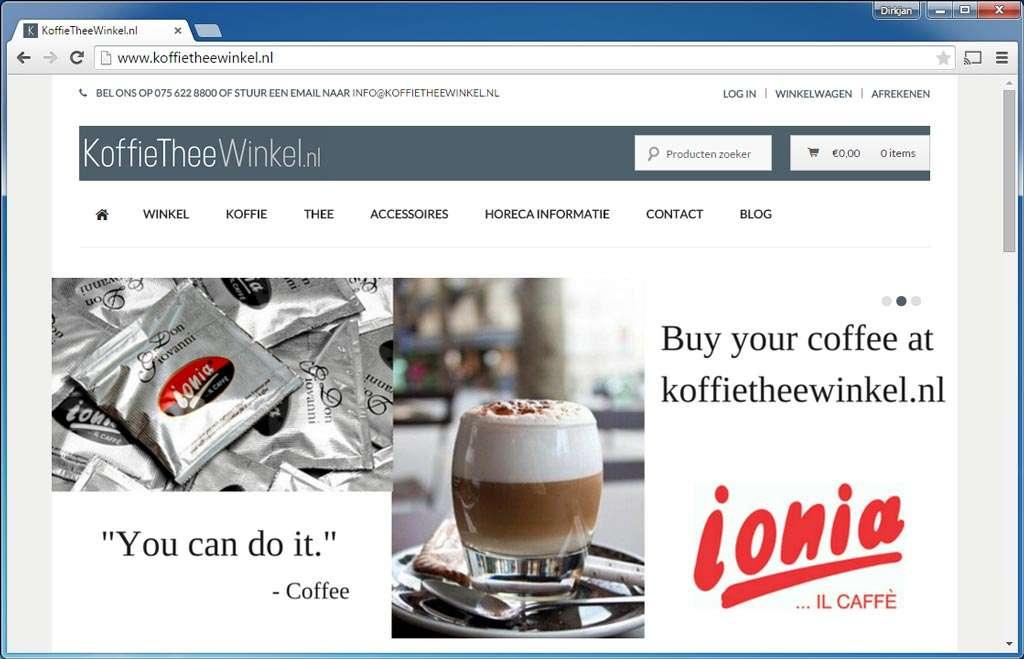 Koffietheewinkel.nl. Webwinkel met koffie en thee, maar ook servies. De site gebruikt ter beveiliging iThemes Security. Voor de nieuwsbrief wordt de plug-in MailChimp for WordPress gebruikt. Om gebruikersrollen beter te regelen is de plug-in User Role Editor geïnstalleerd.