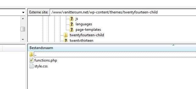 Via FTP plaatsen we ook functions.php in het mapje van het kindthema.