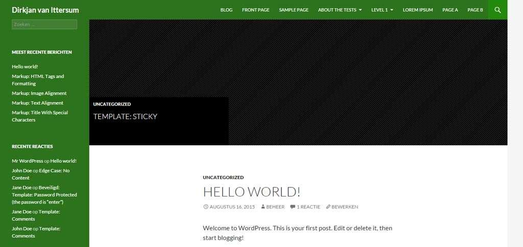Met een kleine wijziging in de CSS zorgt u voor een groene achtergrondkleur voor links en boven.
