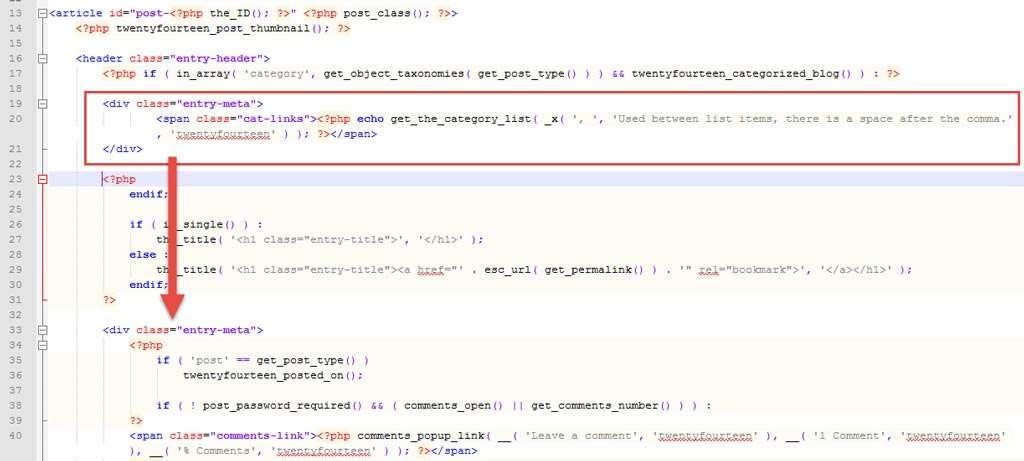 Door het stukje code te verplaatsen, verschijnt de tekst op een andere plek.
