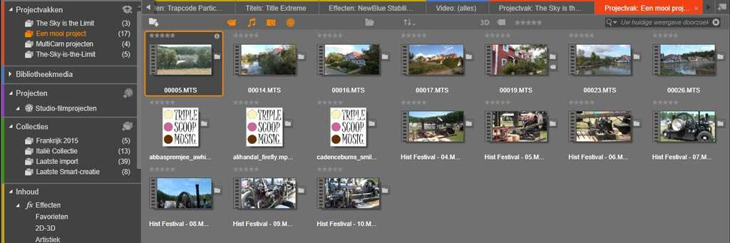 Alle mediabestanden uit verschillende mappen zijn samengevoegd in één projectvak.