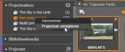 Een projectvak verwijderen.