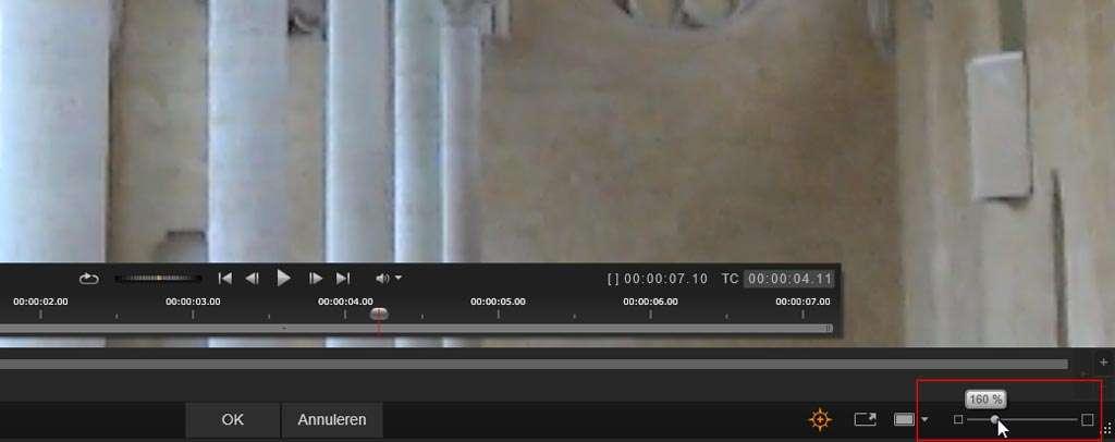 Inzoomen op het beeld van de clip met behulp van de schuifbalk.