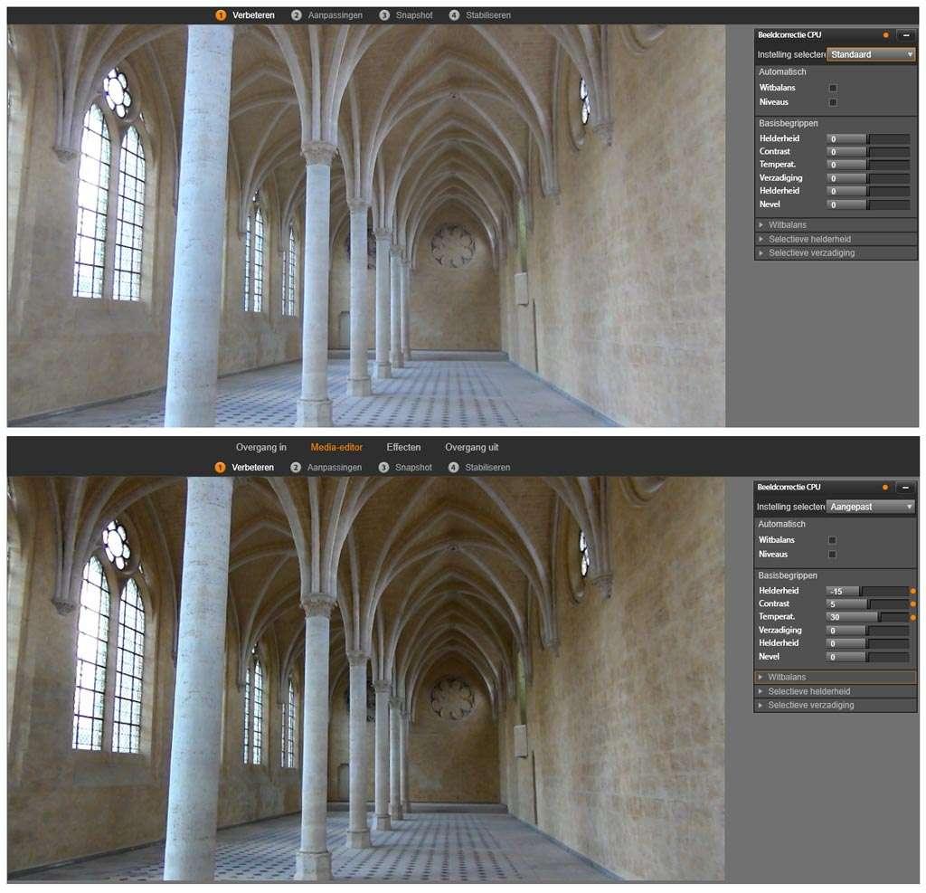 Bovenin is het beeld zonder wijzigingen en onder hetzelfde beeld met een temperatuurwaarde 30, de helderheid op -15 en het contrast op 5.