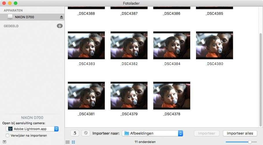 Met behulp van het programma Fotolader kunt u op de Mac aangeven dat Lightroom automatisch start als er een geheugenkaart wordt aangetroffen.