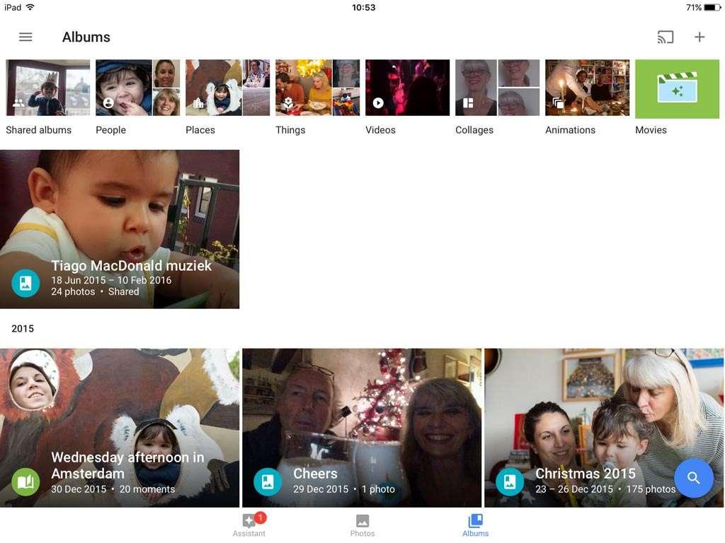 Klik rechtsonder bij Google Foto's op Albums. Je krijgt dan de albums te zien waarvan je lid bent en de albums die j zelf hebt gemaakt. Linksboven is het nieuwe album.
