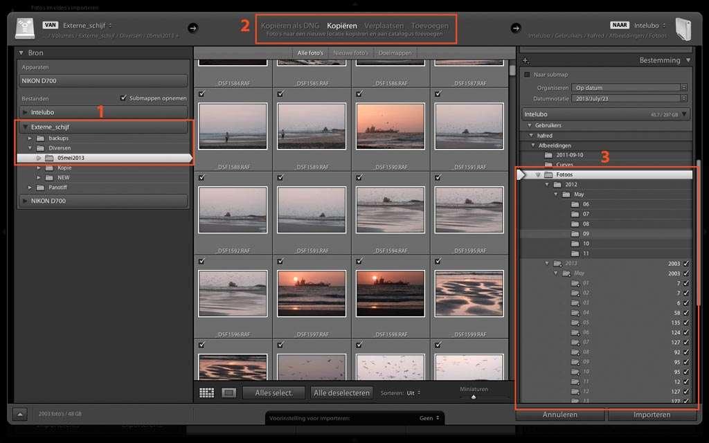 Foto's van een externe vaste schijf kopiëren, in dit geval de map 05mei2013 (1). Als u foto's vanaf een vaste schijf importeert, zijn er twee extra keuzemogelijkheden, waarbij u de foto's kunt verplaatsen van de ene naar de andere map of schijf, of ze aan de catalogus kunt toevoegen zonder ze te verplaatsen (2). Door de keuze bij het deelvenster Bestemming maakt Lightroom tijdens het kopiëren automatisch de mappen van de verschillende data aan (3).