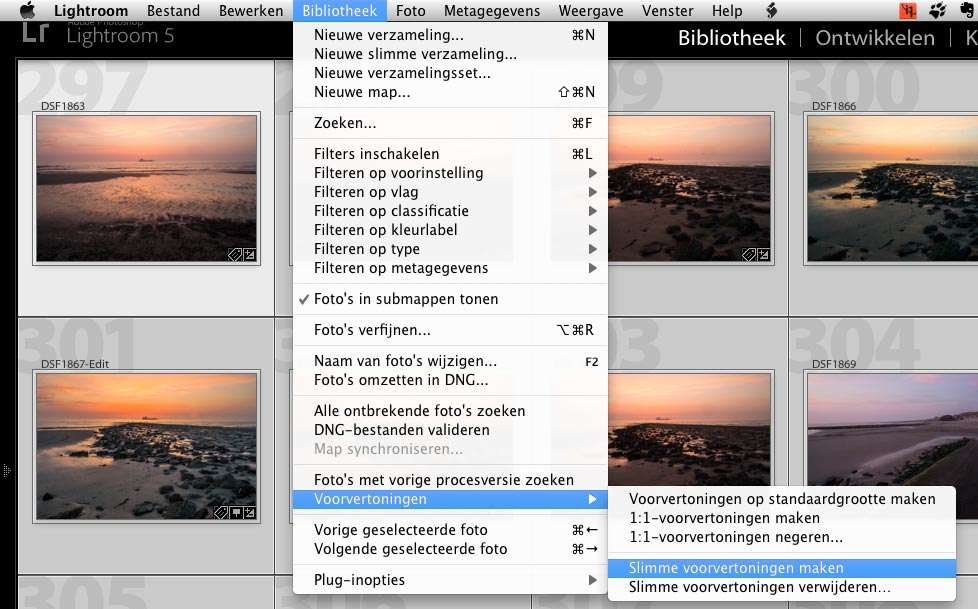 In de module Bibliotheek kunt u, uit het menu Bibliotheek, bij Voorvertoningen kiezen voor Slimme voorvertoningen maken.