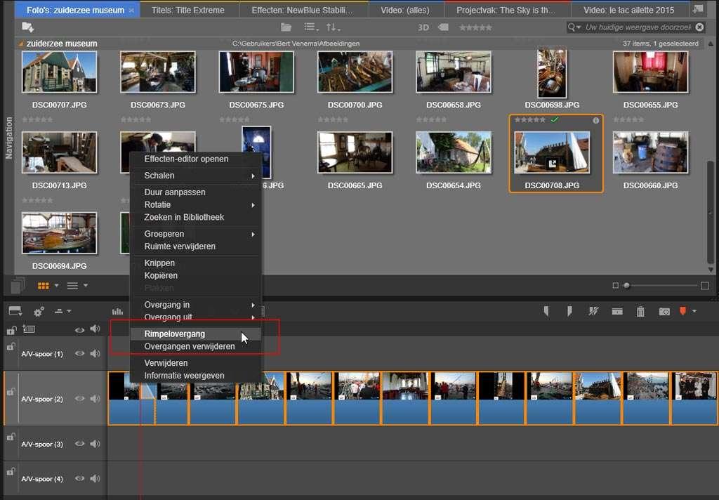 De clips zijn geselecteerd in de tijdlijn en u kiest de optie Rimpelovergang.