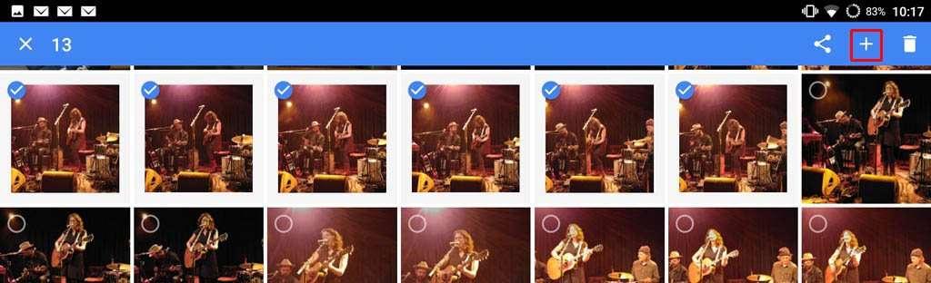 Selecteer de foto's waarmee je de GIF-animatie wilt maken. Klik op het +-teken rechts bovenaan.