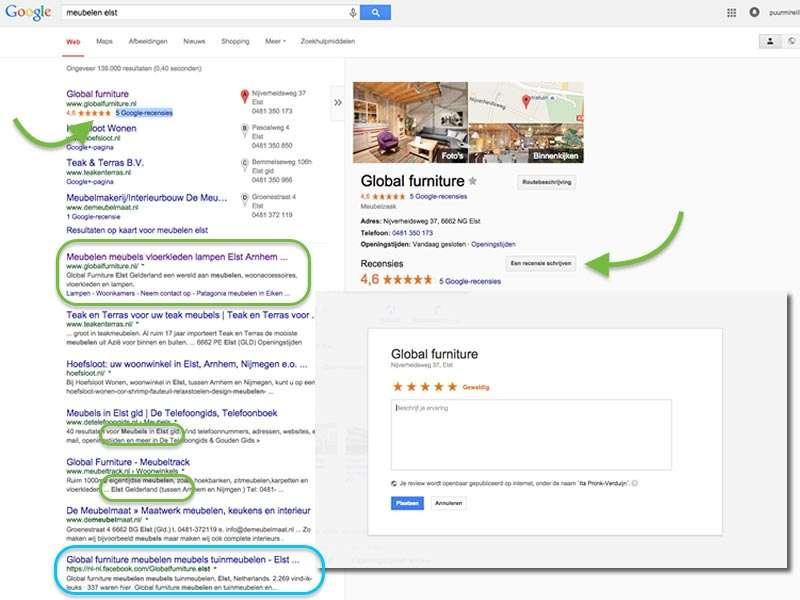 Door uw klanten te vragen bij Google een recensie over uw dienstverlening te schrijven wordt uw vermelding in de zoekresultaten voorzien van sterren. Links naar social-mediaplatformen zoals uw Facobook-pagina scoren vaak heel hoog bij zoekopdrachten.